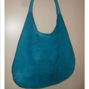 Devi Kroel blue suede large hobo bag